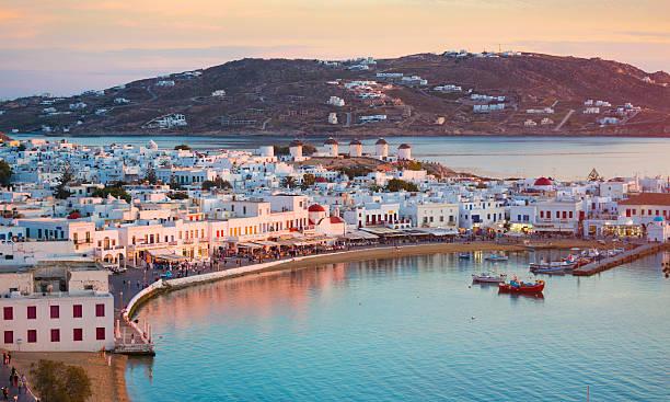 mykonos, en grèce - grece photos et images de collection