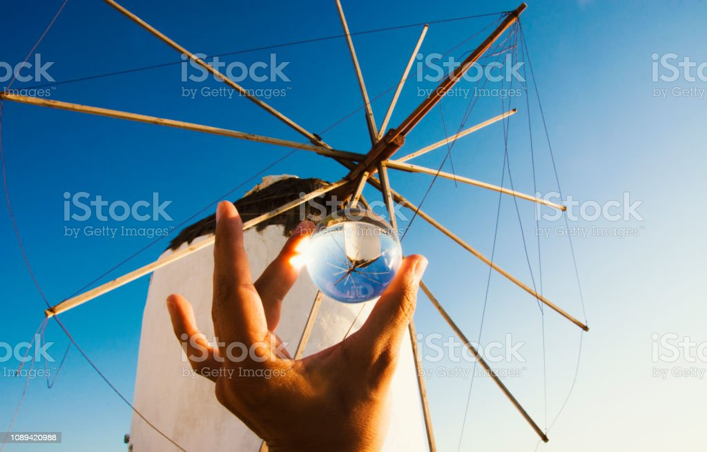Mykonos Inside a Glass Ball stock photo