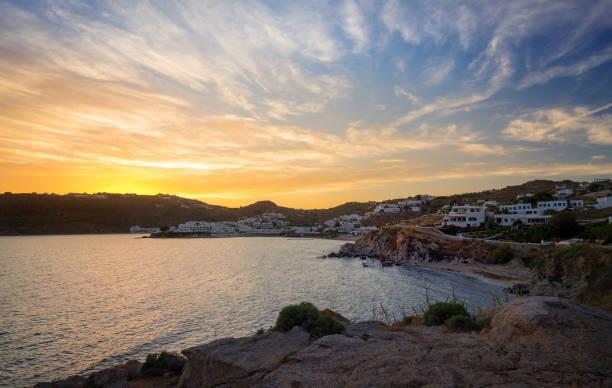 Mykonos island at sunset Cyclades Greece stock photo