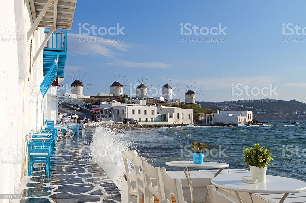 Mykonos island in Greece stock photo