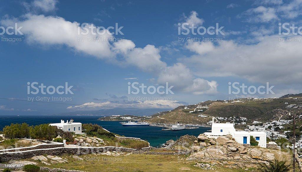 Novo panorama do Porto de Mykonos - foto de acervo