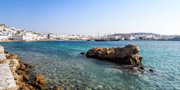 Mykonos impression A look at the harbor of Mykonos aegis stock pictures, royalty-free photos & images