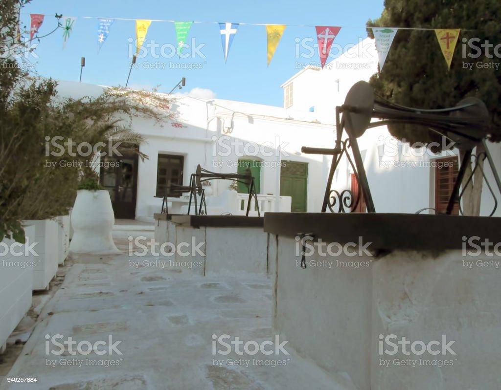 Mykonos Town in Christmas stock photo