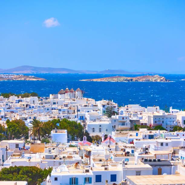 Mykonos town in Greece stock photo