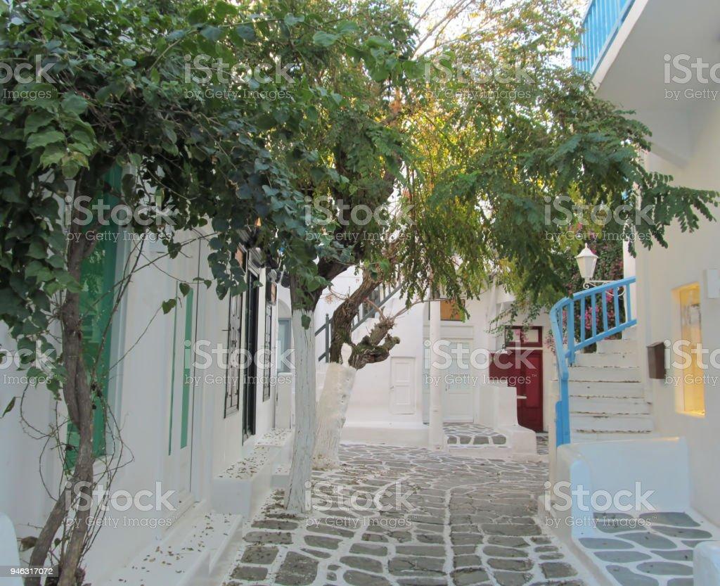 Mykonos Town in Winter stock photo