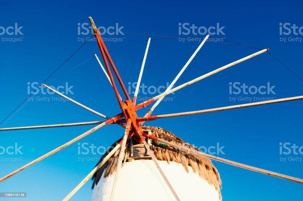 Mykonos Windmill Close Up stock photo