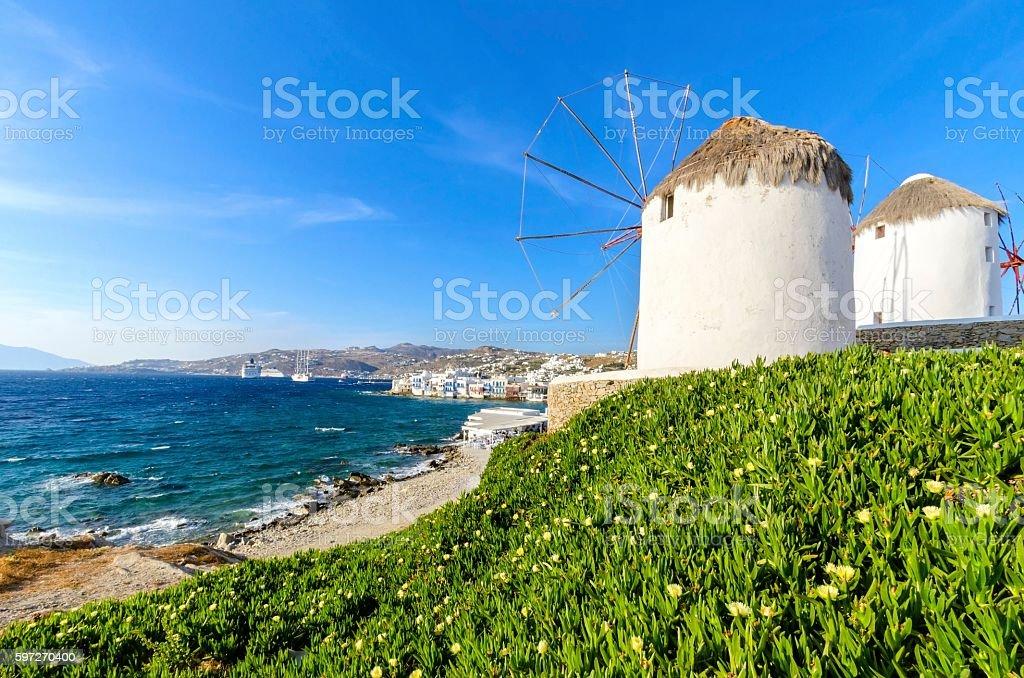 Chora moulins à vent de Mykonos, Grèce, photo libre de droits