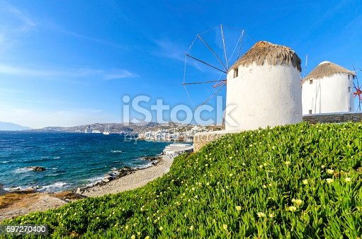 Mykonos Windmills Chora Greece Stock Photo & More Pictures of Aegean Sea