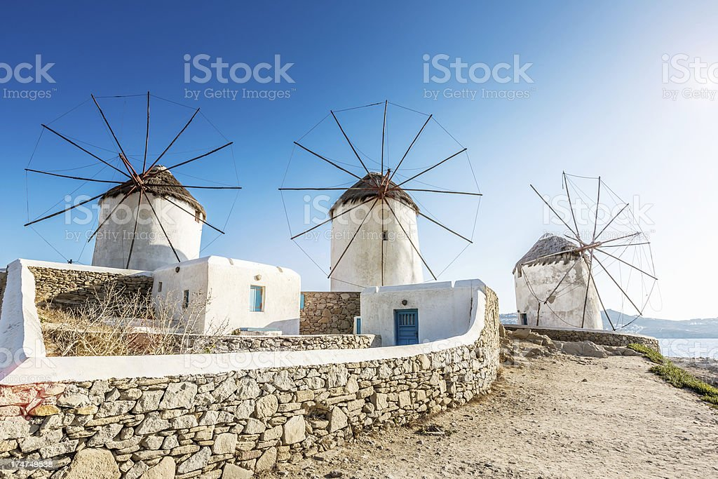 Mykonos Windmills, Greece stock photo