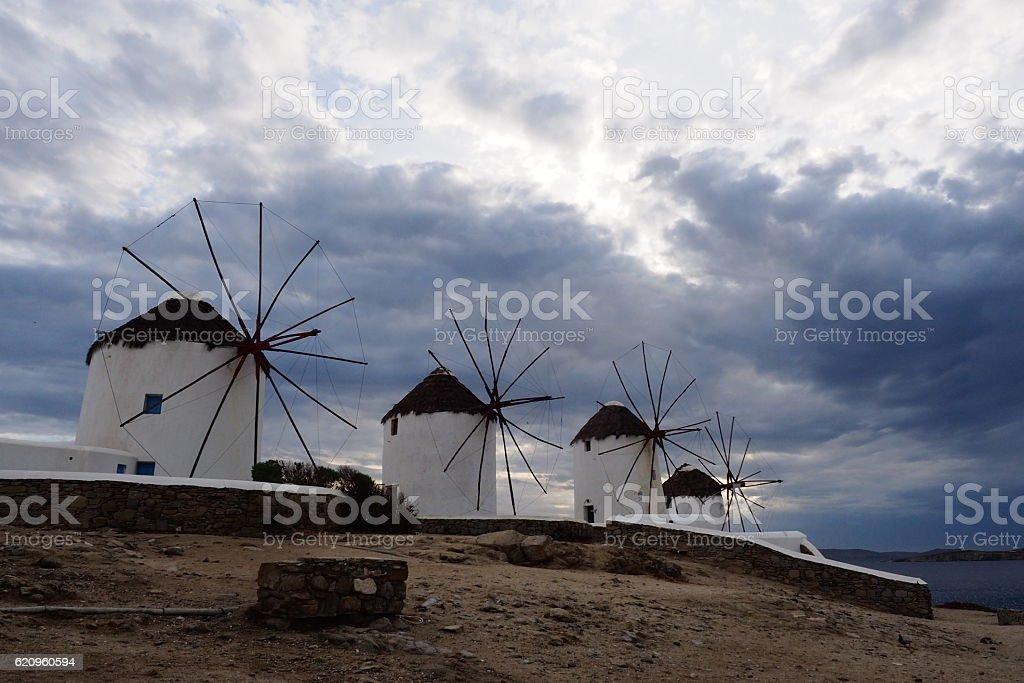 Mykonos windmills, Mykonos Island, 1 of Cyclades Island, Greece stock photo