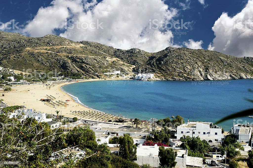 Mylopotas beach, Ios island, Cyclades, Greece stock photo