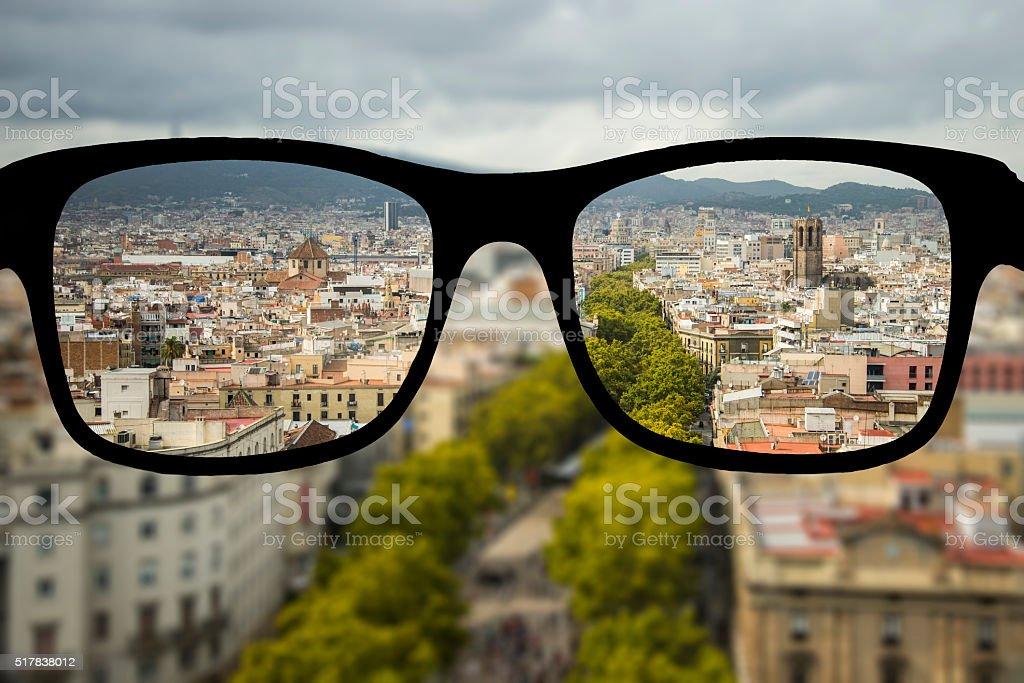 Myopia in Barcelona stock photo
