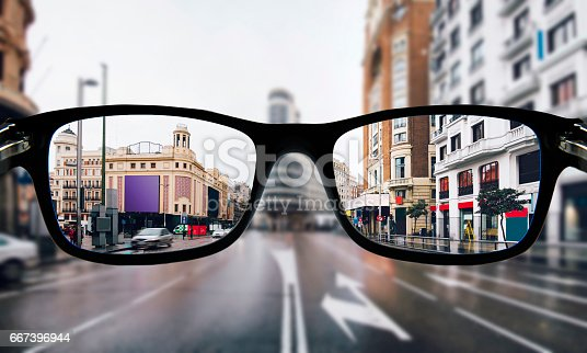 The city center of Madrid as seen from some myopia glasses.