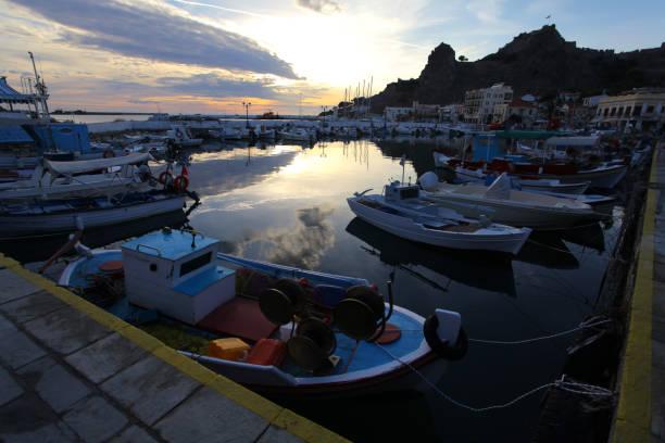 Myrina harbor at sunset, Limnos island, Greece – zdjęcie