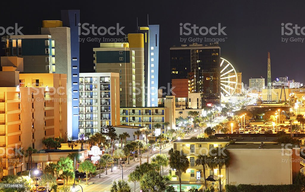 Myrtle Beach at Night royalty-free stock photo