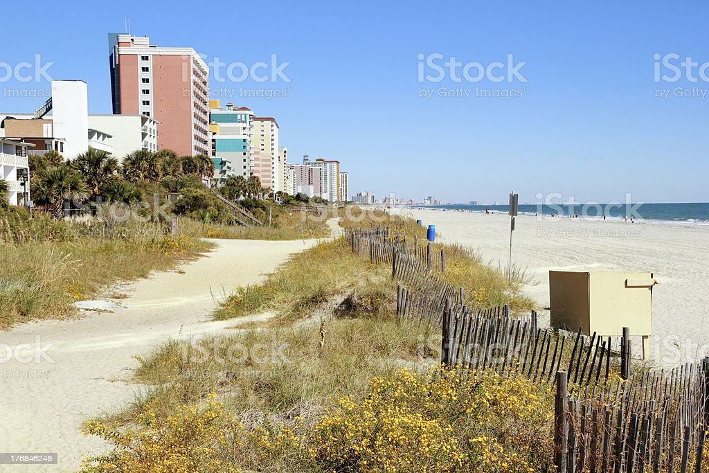 Myrtle Beach Sand and Blue Sky Vista stock photo