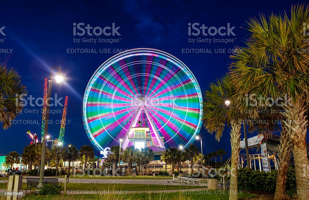 Myrtle Beach South Carolina Boardwalk And Ferris Wheel At Night Royalty Free Stock Photo