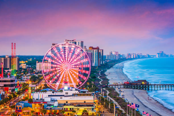 Myrtle Beach, South Carolina, USA Skyline Myrtle Beach, South Carolina, USA city skyline. ferris wheel stock pictures, royalty-free photos & images