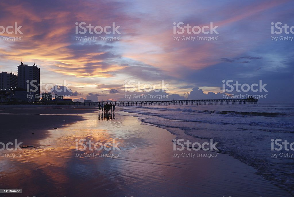 Myrtle Beach Sunrise Walk royalty-free stock photo