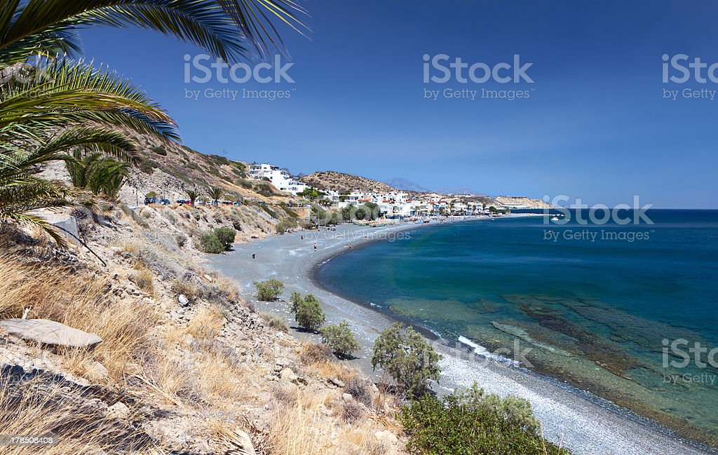 Myrtos beach at south Crete island in Greece stock photo