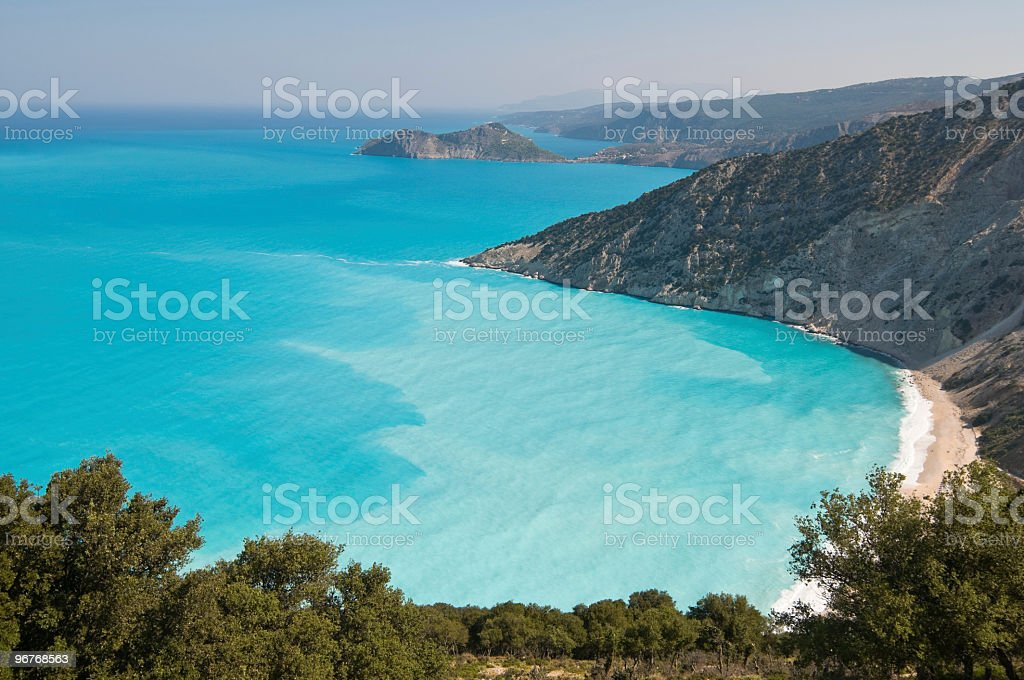 Myrtos Beach in Kefalonia (Cephalonia) stock photo