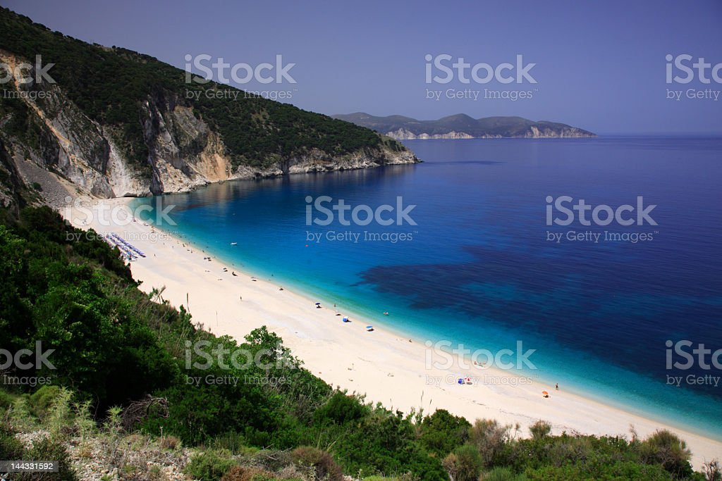 Myrtos beach, Kefalonia Greev stock photo