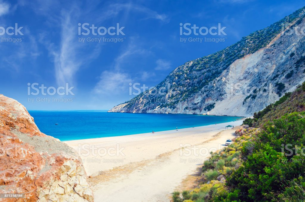 Myrtos beach, Kefalonia island, Greece stock photo