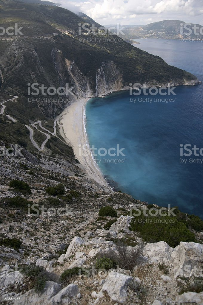 Myrtos famous beach in Cephalonia, Ionian island, Greece royalty-free stock photo