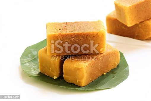 Mysore Pak isolated on white / indian festival sweets