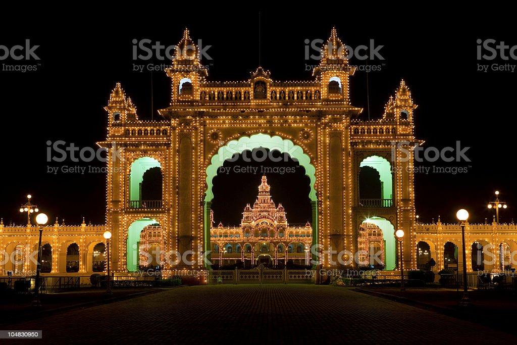 Mysore Palace illuminated at night royalty-free stock photo