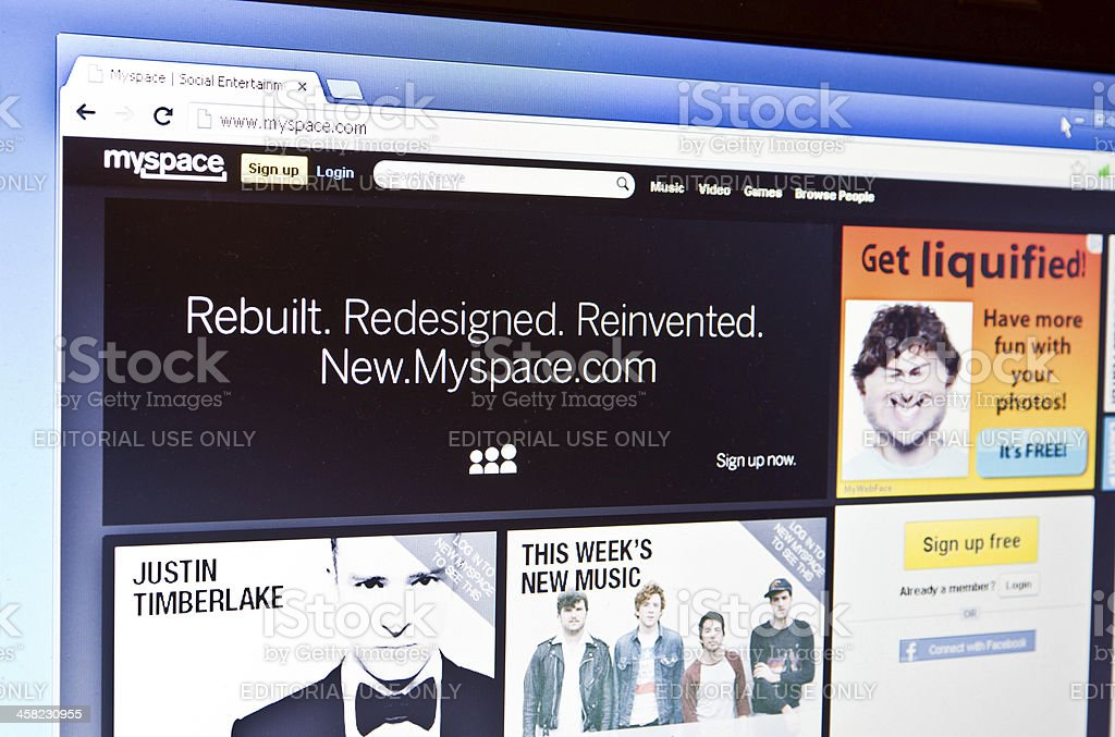 MySpace is redesigned and back online royalty-free stock photo