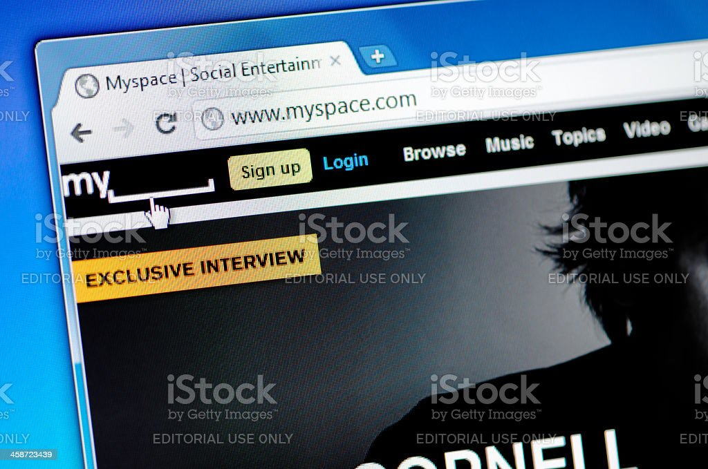MySpace web page on the browser royalty-free stock photo