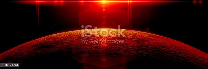istock mysterious alien planet lit by a bright red star 916171744