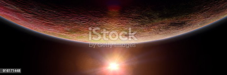 istock mysterious alien planet lit by a bright star, exoplanet background banner 916171448