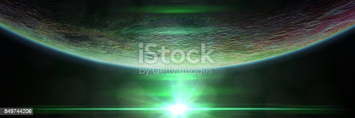 istock mysterious alien planet lit by a green star 849744206