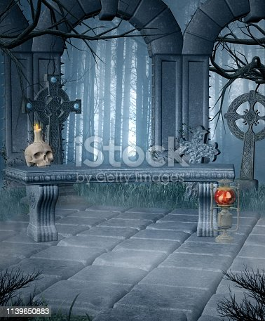 914134406 istock photo Mysterious altar in a spooky forest 1139650883