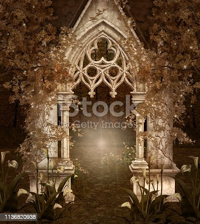 914134406 istock photo Mysterious arcade in the fantasy forest 1136820938