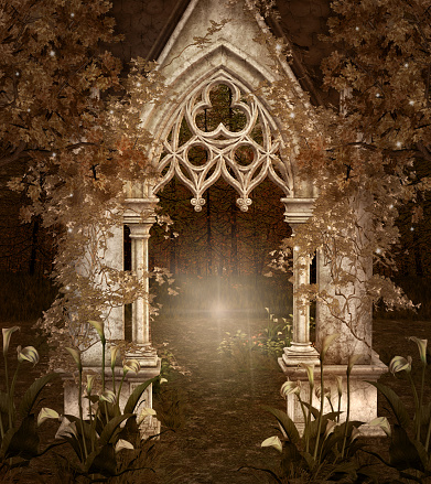 Enchanted passage in the dark woods – 3D illustration