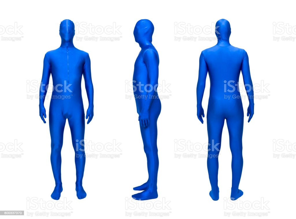 Mysterious blue men in blue suit stock photo