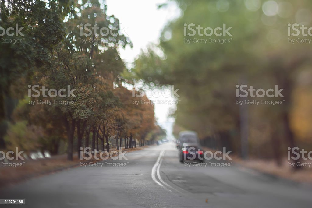 Mysterious blurry road. stock photo