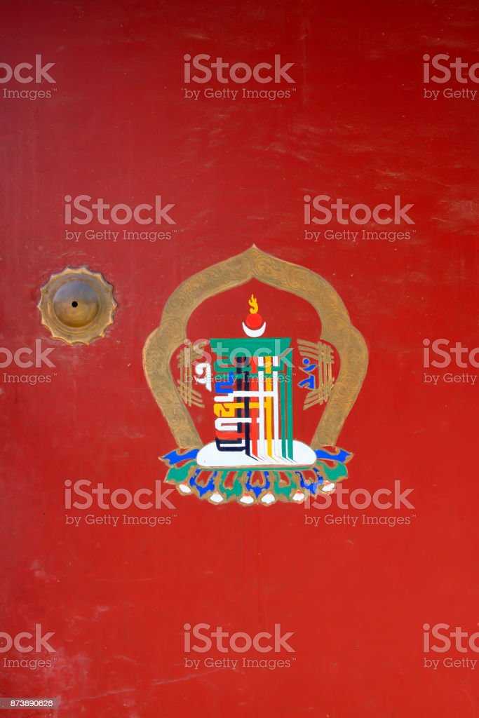 mysterious buddhist patterns and symbols in a temple, closeup of photo stock photo
