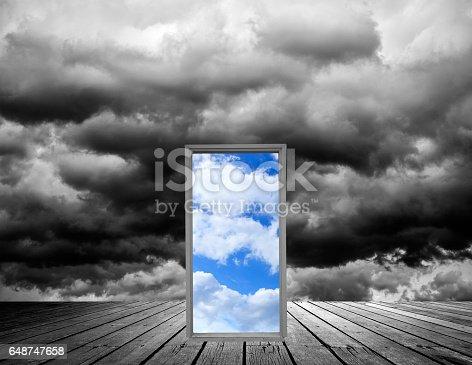 Storm Clouds Background and door