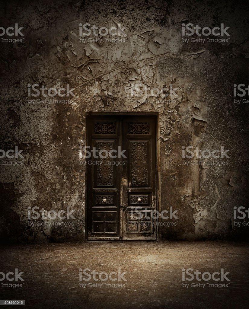 Mysterious door stock photo
