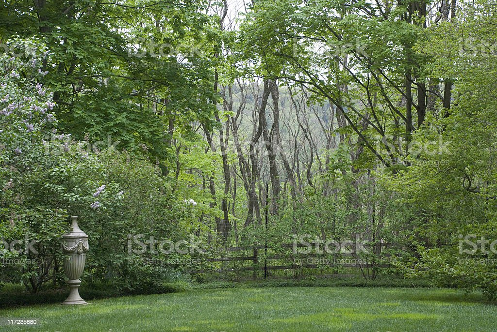Mysterious English Garden Scene royalty-free stock photo
