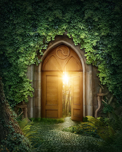 mysterious entrance - open gate stock photos and pictures