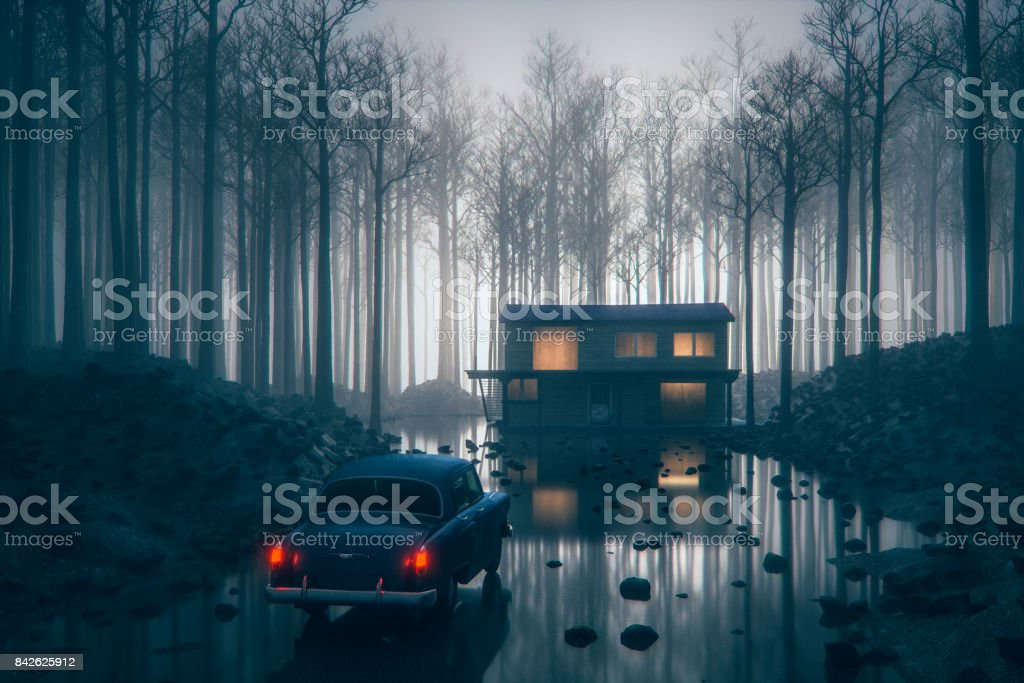 Mysterious events at remote rural forest farmhouse stock photo