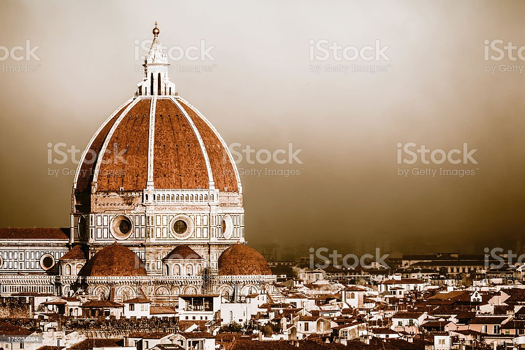 Mysterious Fog at Florence Dome, Italian Landmark stock photo