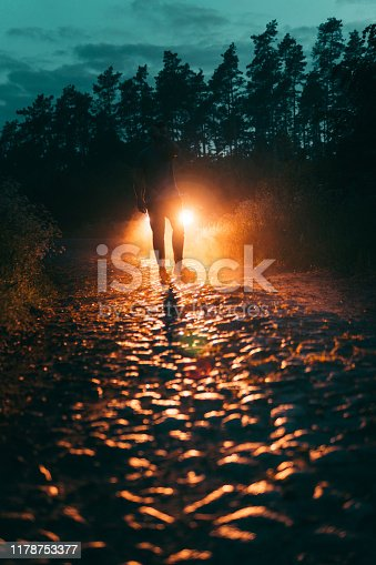 Vehicle lights illuminating forest dirt road. Human silhouette
