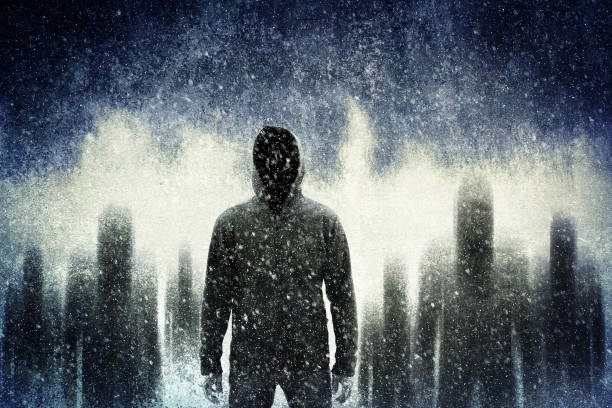 Mysterious gangster in the dark - foto stock