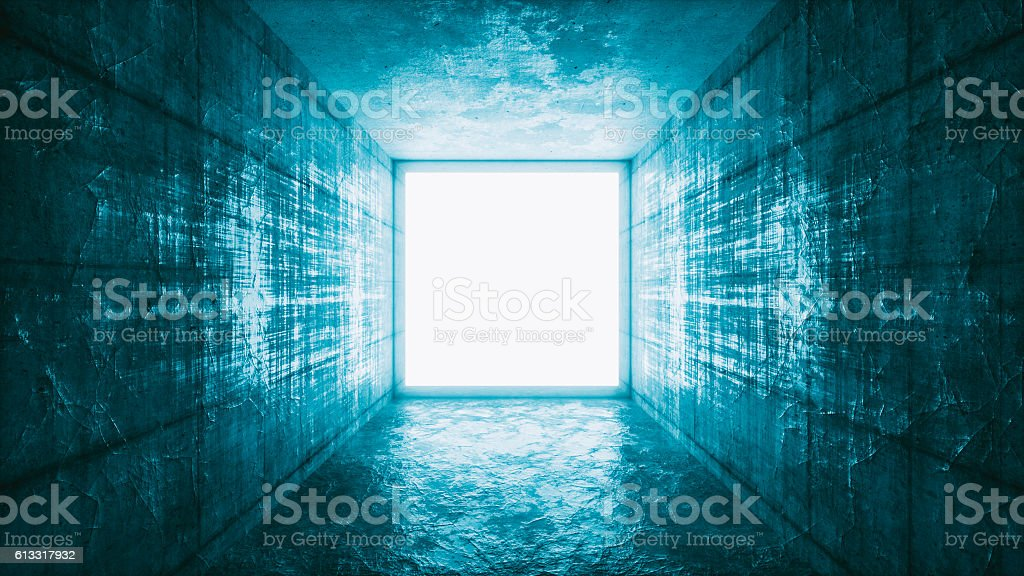 Mysterious glowing window portal stock photo